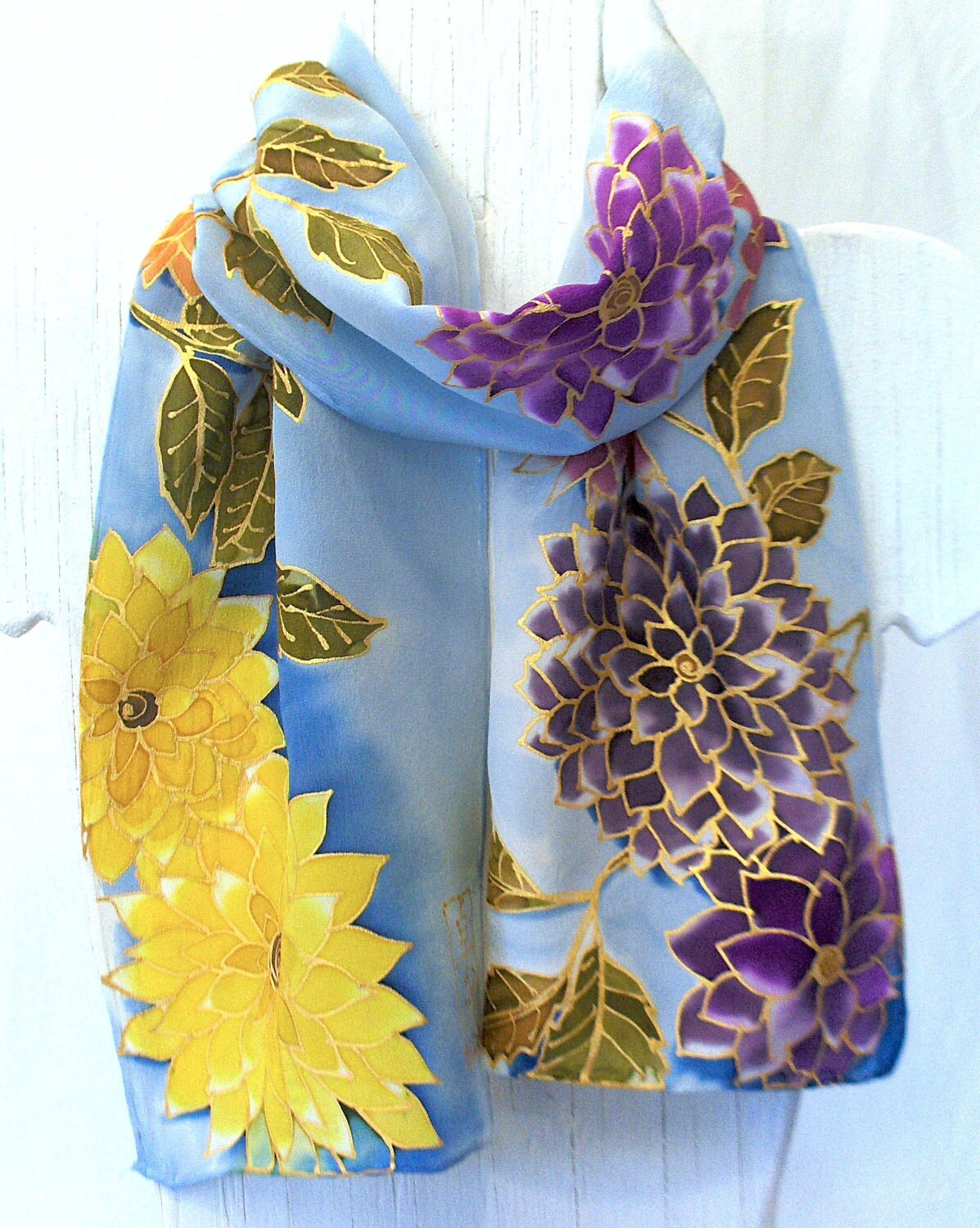 Hand Painted Silk Scarf Japanese Blue Silk Scarf Sky Blue Petite  Watercolor Hand Painted Silk Scarves