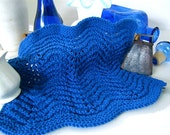 Dish Cloth Wash Cloth: 'Royal Blue' Lace Pattern