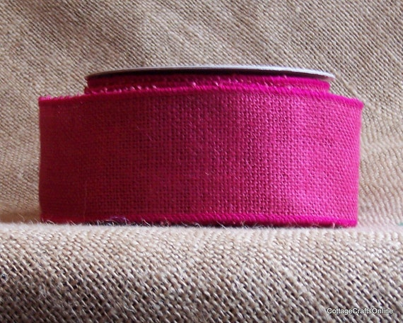 "Wired Ribbon  2 1/2"" Burlap Fuchsia  TEN YARDS 10 Pink Jute - Offray Ribbon Fuchsia"