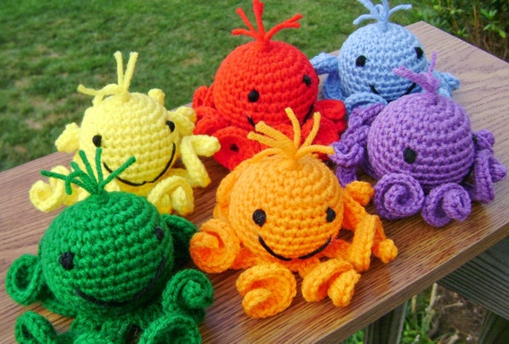 Rainbow Amigurumi Octopi - Stuffed Crocheted Toy