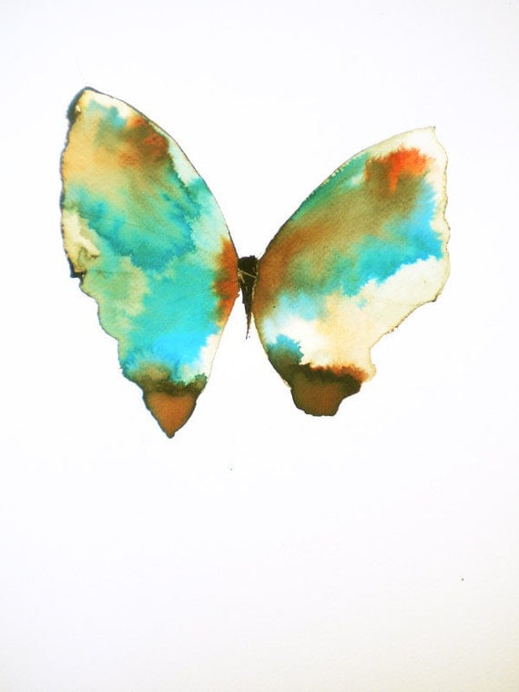 large turquoise green butterfly with rust red, brown and white gold patches. original painting