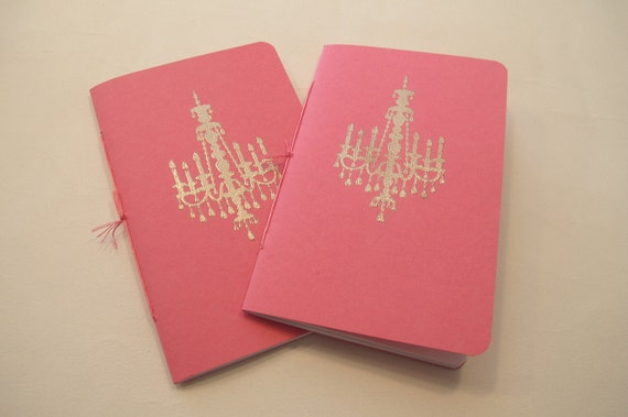Chandelier Pocket Notebooks: Set of Two Pink and Silver Embossed Small Journals Cahier Stocking Stuffer