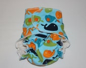 "Cheeky Cloth One Size Organic Bamboo AI2 Diaper  ""Whale Tale in Orange"""