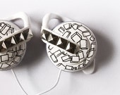 Headphones earphones in black and white with silver stud style custom made painted - ketchupize
