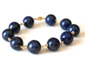 Bracelet Blue Lapis Lazuli and 14k Gold Filled - Midnight, Bold, Navy, Under 50 dollars - WrennJewelry