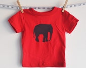 baby red tshirt grey elephant - littleleestudios
