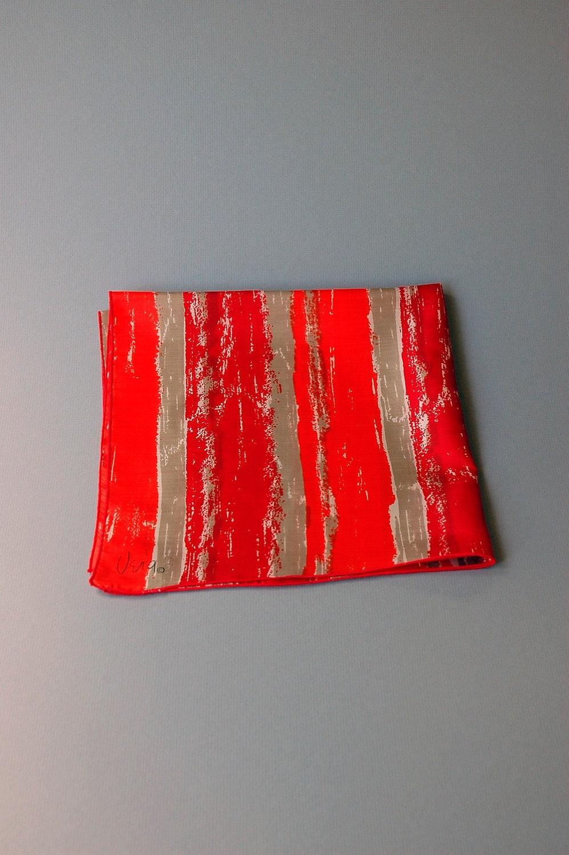Vintage Vera Silk Scarf Orange Red Taupe by luola on Etsy Silk Scarves Orange