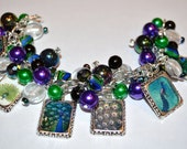 PEACOCK CHARM BRACELET Altered Art Handmade Free2BDesigns Green Purple Blue - Free2BDesigns