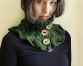 Hand knitted Wool Neckwarmer Olive Green