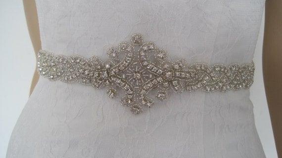 "Crystal bridal sash belt beaded wedding dress sash belt  rhinestone belt ""EVA  B"