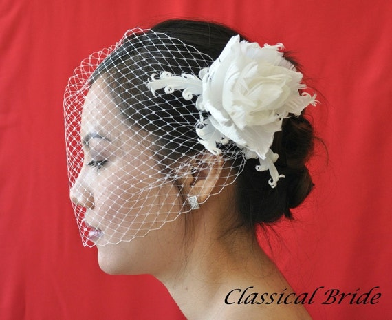 "906 ""PEONY"" VEIL SET w/ Flower Feather Fascinator Hair Clip & Ivory or White Birdcage Blusher Veil for bridal wedding"