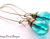 Peacock Teal Swarovski Crystal Earrings on Long Antiqued Bronze Wires -- Natural Elements Jewelry Collection - VintageOoakDesigns