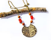 Woodland Connection Necklace. Wood Pendant with Carnelian and Wood Beads - TwistedWhimsyDesigns