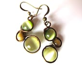 Khaki, Moss Green and Mocha Cat's Eye Earrings Wrapped with Antique Bronze Craft Wire - CarrieEastwood