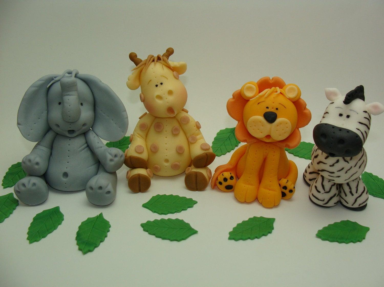 Edible Fondant Cake Toppers - Elephant, Giraffe, Lion, Zebra