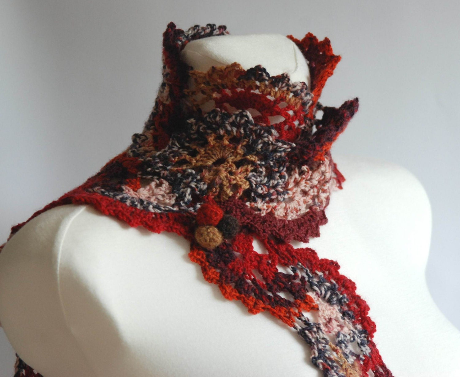 CIJ SALE  Patchwork  multicolor crochet lace scarf neck warmer  Crochet Scarf For Sale