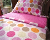 Pink Fleece Bed Set : Toddler / Crib Size Handmade Bedding 'Ice Creamy Dreams for Girls