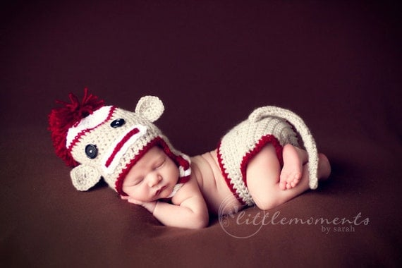Baby Crochet Sock Monkey Set with Diaper Cover & Tail Photography Prop Halloween Costume