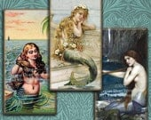 Vintage & Victorian Mermaids - 1x2 inch Domino Tile Images - Digital Collage Sheet - Download and Print - steamduststudios