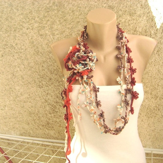 Crochet scarf lariat Pastel colors of red Scarflette Necklace Set of  Crochet Scarf Two Colors