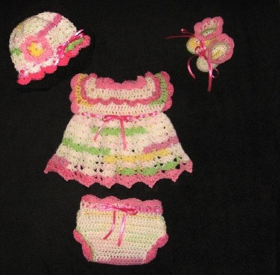لباس قلاب دوزی پوشک تنظیم دختر بچه با لباس، کلاه، Booties و پوشش پوشک (diaper)