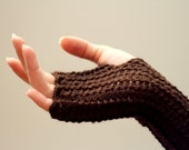 Crochet chocolate fingerless gloves free shipping - katerynaG