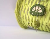 Crochet lacy pendant/ green/ reversible/ crocheted cover fake stone/ crocheted wrapped wooden bead/ green necklace - ArigigiArt