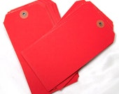 12 Christmas red shipping tags large parcel tags for gift wrap - owlandthistle