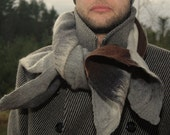 Felted shawl for Him, gray - brown merino wool - jurgaZa