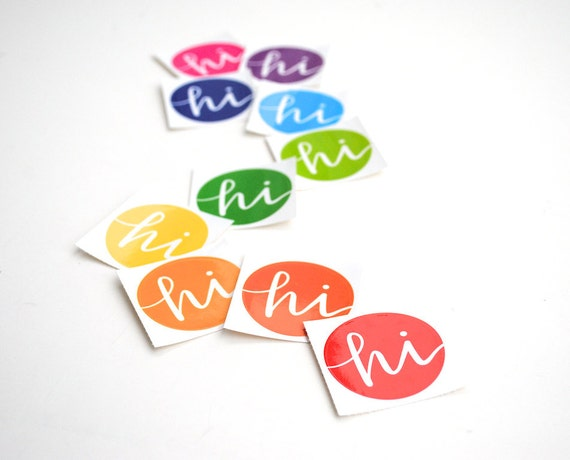 EmDashPaperCo Round Multicolor Hi Stickers