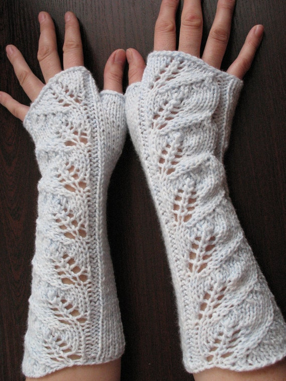 Knit Fingerless Gloves Mittens white light azure Arm Warmers and Soft Acrylic