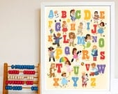 Unisex Alphabet Poster Print. 11x14 Homeschool. Teacher. ABC Bedroom Wall Art. Boys. Girls. - kindygarden