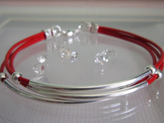 Red Leather Cord Sterling Silver Tube And Beaded Bracelet