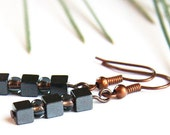 Industrial Earrings.  Stacked Mini Hematite Cubes. Copper Lined Black Diamond Seed Beads. Petite 4mm Stones. Metallic Gray