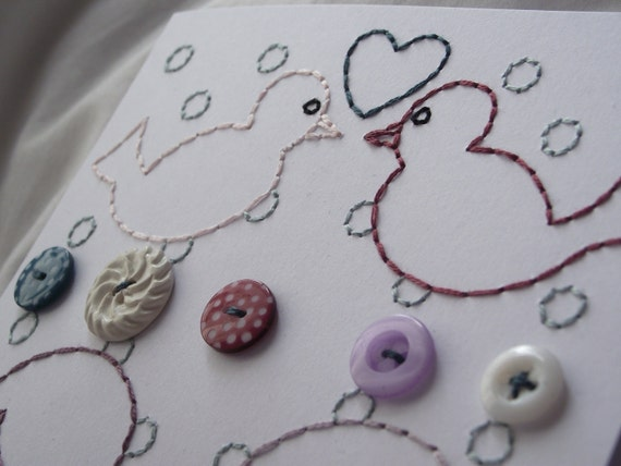 Cards birds buttons and hearts - stitched by hand set of 2