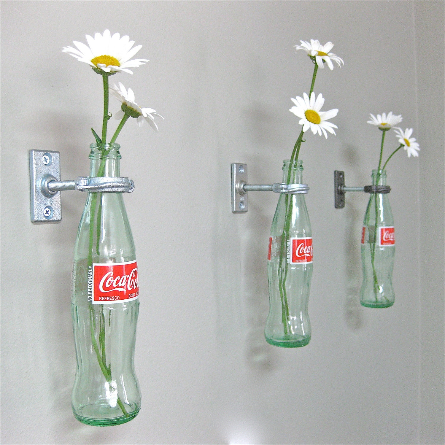 Retro Decor 4 Cocacola Bottle Hanging Vases  Wall Decor  Retro Decor