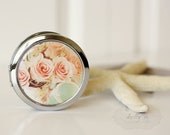 "Photo Mirror Compact- ""Shabby Sweet"", Pink Rose Floral Teapot Photograph, 3"" Double Sided Mirror- Engravable Gift Item - kellynphotography"