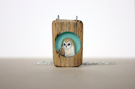 summer owl - turquoise teal summer fashion owl- hand painted wooden necklace black friday cyber monday sale