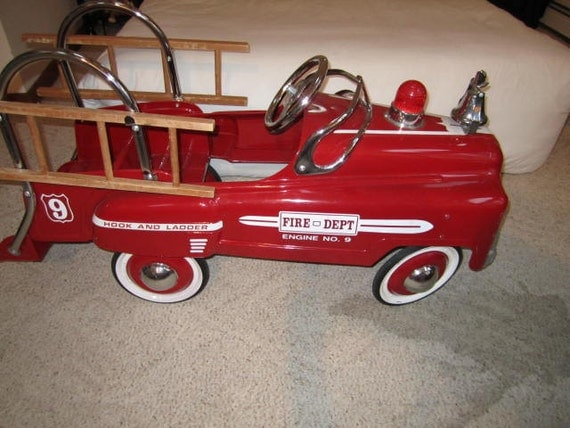 Sad Face Fire Engine number 9 pedal car.