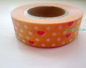 Washi Tape Roll in Sherbet Orange Hearts and More