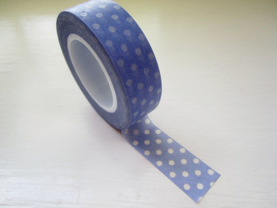 Japanese Washi Tape Roll in Periwinkle Blue Polka Dot