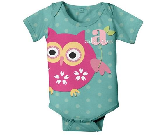 Personalized Owl Onesie,  Monogram Baby Romper Custom Onesies