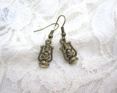 Lantern earrings in antique bronze - LazyOwlBoutique