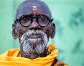 Indian Man with Heavy Glasses in Saffron Robe 10x7 Fine Art Photo