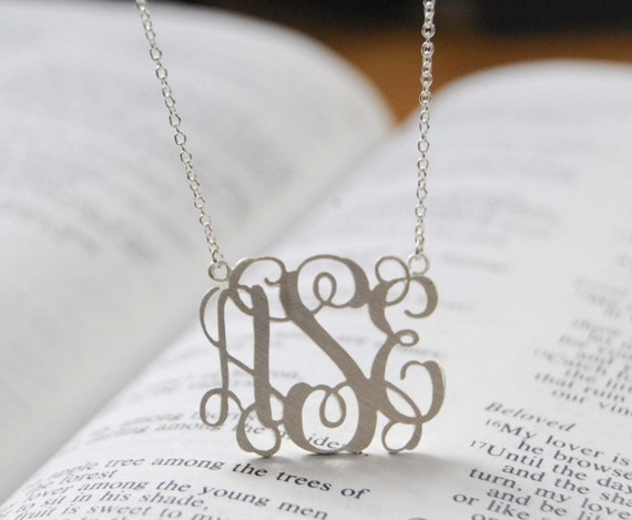 Monogram Necklace 1inch Personalized Initial Pendant