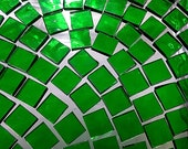 75 BRIGHT EMERALD GREEN 3/8 in Mini Tiles - Stained Glass Mosaic Tile Supply - StainedGlassLizard