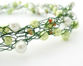 Wire Crochet Necklace, Green & White Beaded - MoonlightShimmer