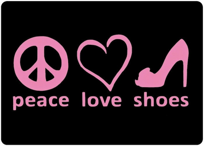 shoe decal peace love shoes car window decal i by villagevinyl i love shoes 700x502