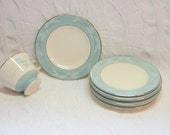 Aqua Teal Plates Dishes Blue Delicate Pink Floral Pattern Mid Century Cavalier Romance Dessert/bread and butter Plates Homer Laughlin - slatternhouse5