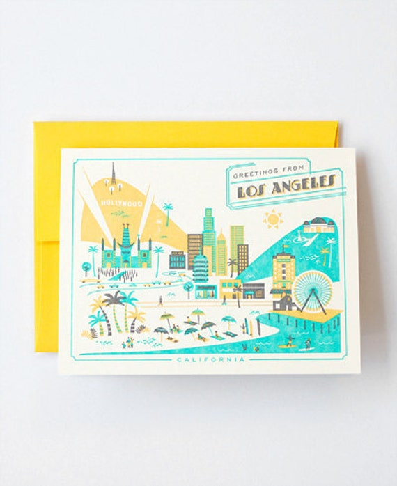 Visit Los Angeles - Letterpress Greeting Card